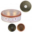 ronde metalen doos met luchtspiegraam, 2- maal gea