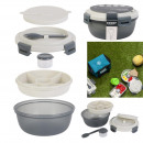 round lunch box compartments and fork