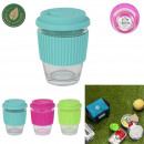 mini travel mug in glass, 3- times assorted