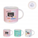 mug wonderful day ceramique 30cl, 3-fois assorti