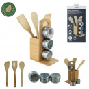 spice rack and set of 3 bamboo cutlery