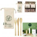 cubiertos de bambú reutilizables con bolsa