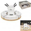 Großhandel Haushalt & Küche: Fondue Set Bambushalter Tasse x4 und p4