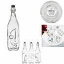 arty flapper glass bottle 1l, 3- times assorted