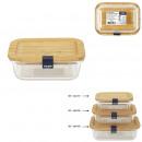 32cl Lunchbox aus Glas und Bambus
