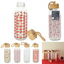 wholesale Toys: single wall flowered glass bottle 42cl, 4-fo
