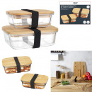 storage box bamboo lid x2