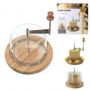 Cheese board with bell 18cm, 1-fold assorted