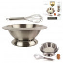 Mixing bowl with base and whisk, 1-fold assorted