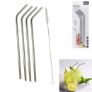 stainless steel straw x4 with bottle brush