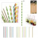 fantasy printed straws in paper x50, 6-fold