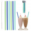 Reusable straw x6 with bottle brush