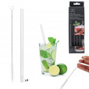 wholesale Household Goods: transparent glass straw x4 with bottle brush