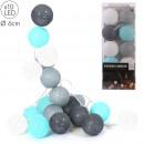 guirlande boule bleu gris 10 led d6cm 1m92