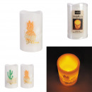 colored led candle deco 12.5x7.5 cm, 2-times assor