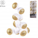 garland ball 10led white glitter gold 6x192cm