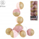garland ball 10 led pink glitter gold 6x192cm