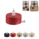 led table candle with glitter 3.5x3.8cm, 6-f