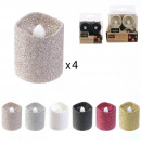 led table candle with glitter 4.2x3.8cm, 6-f