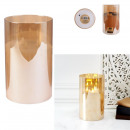 bougie led verre ambre 25x15cm