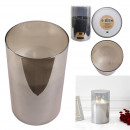 candle led glass gray smoke 25x15cm