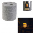 led candle 3 meches gray 15x15cm