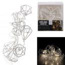 mayorista Casa y decoración: guirnalda metal 10 led diamante plata