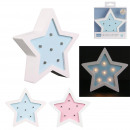 wholesale Lampes: star wood lamp 13x3x13cm, 2- times assorted