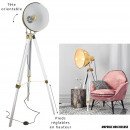 industrial floor lamp gold tripod white