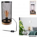 floor lamp cylinder grid metal black wood