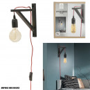 black wall lamp red cable