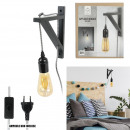 black and white cable black wall lamp