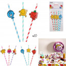 birthday straw mr mme x10, 2- times assorted