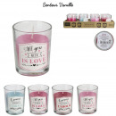 candle glass love pm, 4- times assorted