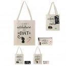 Großhandel Drogerie & Kosmetik: Tasche und Beutel Baumwolle Katze, 3- fach sortier