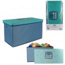 60x60x35cm foldable storage box blue, 1-faith