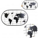 groothandel Overigen: pele-mele wereldkaart metaal 60x35cm