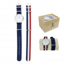 wholesale Bracelets: Wirst watch nato Wirst watch + tri-color and blue