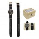 Großhandel Armbänder: Armbanduhr rose gold nato + grau und schwarz Armba