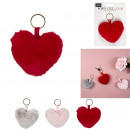 wholesale Dolls &Plush: plush heart keychain, 3- times assorted