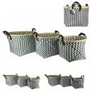 wholesale Organisers & Storage: white black round braid basket with bamboo x3, 2-f