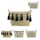 Rigid braid basket in seagrass 33x22x21cm, 3-