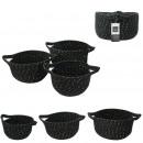 black coton and gold fiber storage basket x3, 1-fo