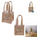 Großhandel Taschen & Reiseartikel: kunststoff jute pflanzen tasche h10cm garten