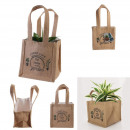 mayorista Maletas y articulos de viaje: Jardinera de yute plástica bolsa h14cm jardín