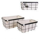 wired metal basket with liner x2