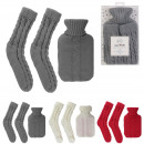 grossiste Spa et massage: bouillotte laine 1l et chaussettes cotelees, 3-foi