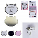 wholesale Make-up Accessoires: Cat pocket mirror, 3- times assorted