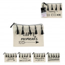wholesale Travel Accessories: canvas pouch pompons fringe 13.5x19cm, 4-fold as