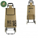 wholesale Shopping Bags: shopping trolley 2 wheels natural jute, 2-times as